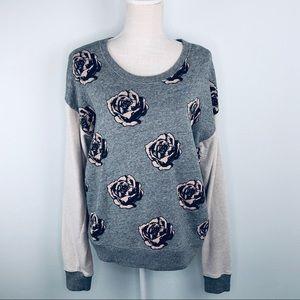 J. Crew Cream & Grey Sweat Shirt w Roses Sz XL